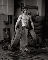 HERB RITTS Fred with Tires, Hollywood, 1984_tn
